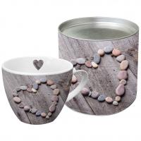 Porzellan-Tasse - Herz auf Holz