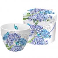 +*)Porzellan-Tasse - Hortensien Provenienz