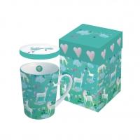 Tasse mit Deckel - mit Deckel GB Weiß Einhörner
