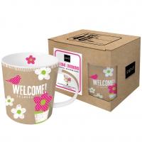 Porzellan-Henkelbecher - Welcome Cardboard