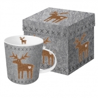 Porzellan-Henkelbecher - Felt Reindeer