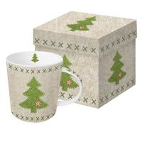 Porzellan-Henkelbecher - Filz Weihnachtsbaum