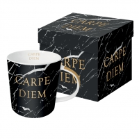 Porzellan-Henkelbecher - Marble Carpe Diem real gold