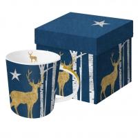+*)Porzellan-Henkelbecher Mystic Deer blue