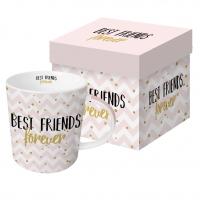 Porzellan-Henkelbecher - Für immer Freunde