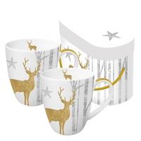 +*)Porzellan-Henkelbecher Mystic Deer Gold