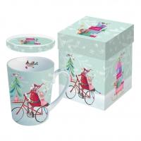 Tasse mit Deckel - Weihnachtsmann auf dem Fahrrad