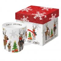 Porzellan-Henkelbecher Family Christmas