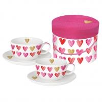 Cappuccino Tassen - Aquarell Hearts
