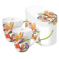 Porzellan-Henkelbecher - Parrot Flower