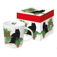 Porzellan-Henkelbecher - Black Cat Flower Pots