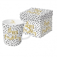 Porzellan-Henkelbecher - Happy Birthday real gold