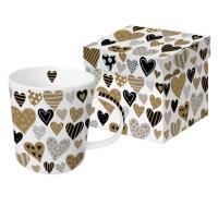 +*)Porzellan-Henkelbecher Golden Hearts