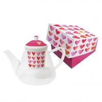 Glas Teekanne - Teekanne aus Glas mit Sieb GB Aquarell Hearts rea