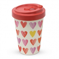 *)Becher aus Bambus Aquarell Hearts