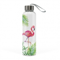Glasflasche - Tropical Flamingo