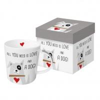 Porzellan-Henkelbecher - Liebe und Hund