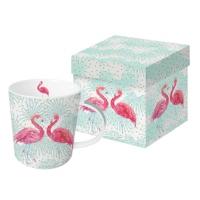 Porzellan-Henkelbecher - Flamingo-Fantasie