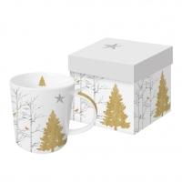 Porzellan-Henkelbecher - Mystic Tree white real gold