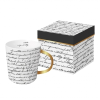 Porzellan-Henkelbecher - Scrittura real gold