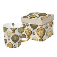 Porzellan-Henkelbecher - Mongolfiere echtes Gold