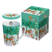 Tasse mit Deckel - Festliche Tiere