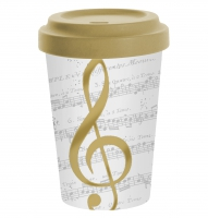 Bamboo mug To-Go - I Love Music gold