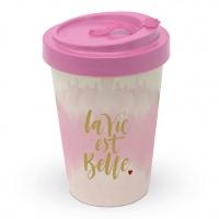 Bamboo mug To-Go - La vie est belle rosé