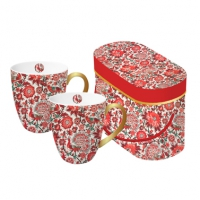 Porzellan-Henkelbecher - Set Pavone rosso real gold