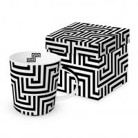 Porzellan-Henkelbecher - Squared Lines black