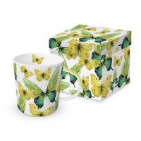 Porzellan-Henkelbecher - Green Butterflies
