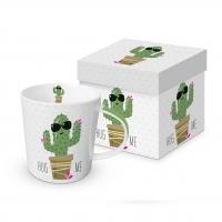 Porzellan-Henkelbecher - Hug Me Cactus
