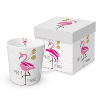 Porzellan-Henkelbecher - Pretty Flamingo