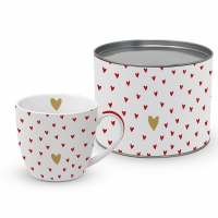 Porzellan-Tasse - Little Hearts real gold