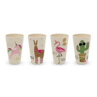Bambus Becher - Pink Unicorn & Friends Set of 4