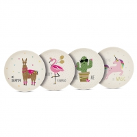 Bambus Teller - Bamboo Plates Pink Unicorn & Friends Set of 4