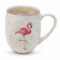 Porzellan-Henkelbecher - Organic Tropical Flamingo