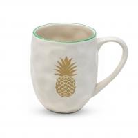 Porzellan-Henkelbecher - Organic Tropical Pineapple real gold