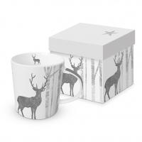 Porzellan-Henkelbecher - Mystic Deer real platinum