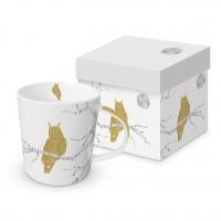 Porzellan-Henkelbecher - Mystic Owl real gold