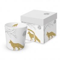 Porzellan-Henkelbecher - Mystic Fox real gold