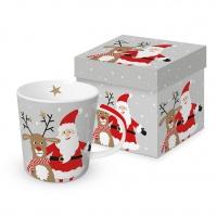 Porzellan-Henkelbecher - Happy X-Mas (Santa + reindeer)
