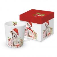 Porzellan-Henkelbecher - Christmas Pup