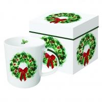 Porzellan-Henkelbecher - Winter Wreath