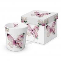 Porzellan-Henkelbecher - Butterfly Flowers