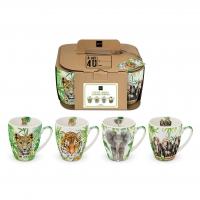 Porzellan-Henkelbecher - Mugs Tropical Animals Set of 4 CB