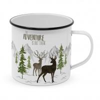 Metal Cup - Adventure Deer white Happy Metal Mug
