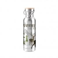 Edelstahl Trinkflasche - Adventure Deer white Steel Bottle 0,75