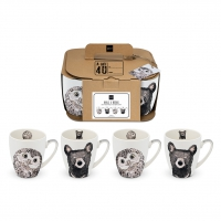 Porzellan-Henkelbecher - Owl & Bear 4 Set