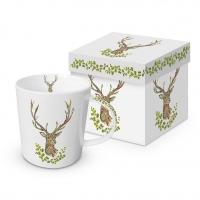 Porzellan-Henkelbecher - Green Deer Trend GB